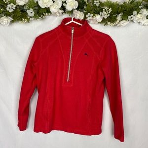 Tommy Bahama Red Collared Half Zip Pullover Small